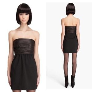 THEORY Amandie Chateau Leather Strapless Dress 0